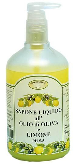 Flüssigseife mit Zitronenduft und Olivenöl